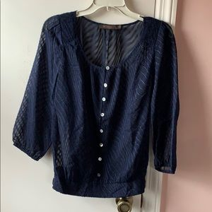 The Limited sheer navy blouse